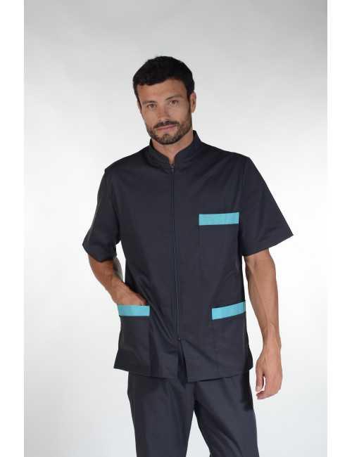 """Blouse médicale Stretch, bicolore homme zippée, CMT collection """"Stretch bicolore"""" (047)"""