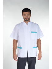 Blouse médicale bicolore homme zippée, Mankaia Factory Stretch, mankaia