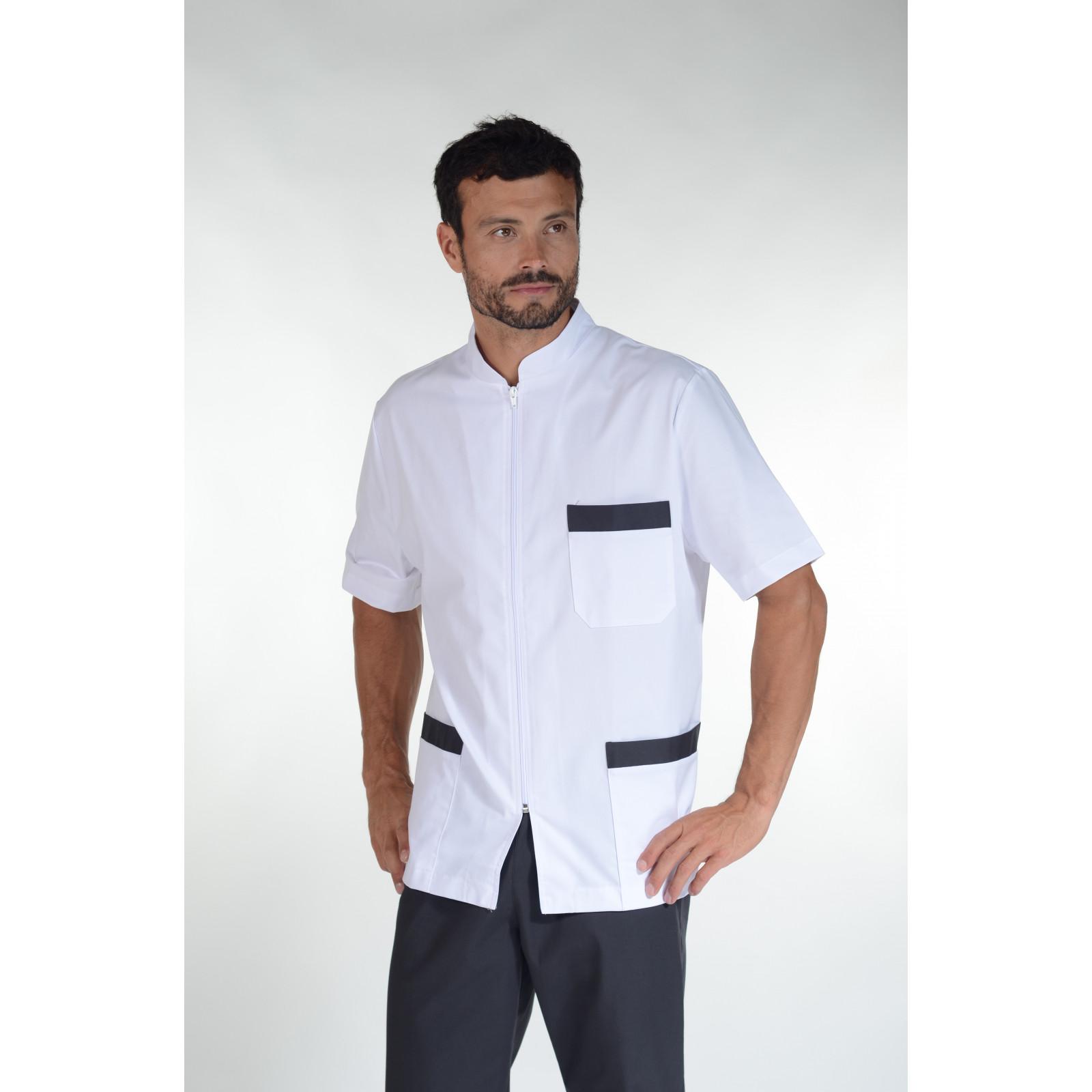 Blouse médicale bicolore homme zippée, Mankaia Factory Stretch, mankaia