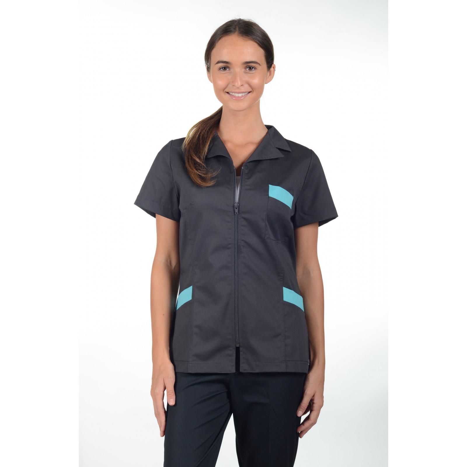 Blouse médicale zip cintrée, Mankaïa Factory Stretch (2486)