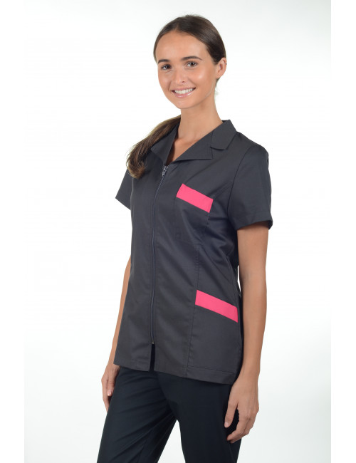 "Blouse médicale zip cintrée, CMT collection ""Stretch bicolore"" (2486)"