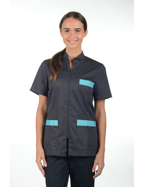 "Blouse médicale Col Mao Zip femme,  CMT collection ""Stretch bicolore"" (2496)"