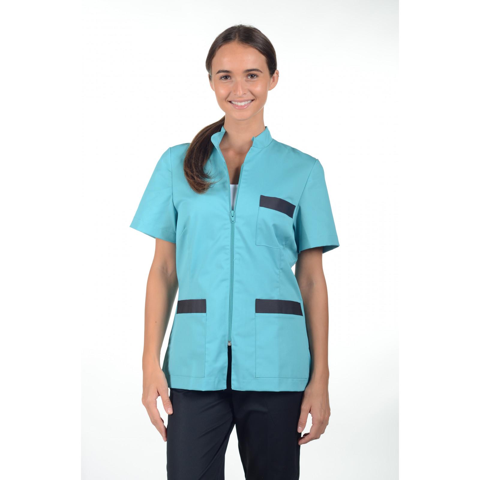 Blouse médicale Col Mao Zip femme, Mankaia factory Stretch (2496)