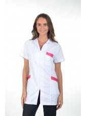 Blouse médicale cintrée longue zippée, Mankaia factory Stretch bicolore (2499)