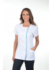 Blouse médicale pression, femme, Mankaia Factory Stretch bicolore (2605)