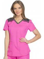 "Tunique Médicale femme bicolore Dickies, Collection ""Dynamix"" (DK740) rose face"