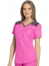 "Tunique Médicale femme bicolore Dickies, Collection ""Dynamix"" (DK740) rose gauche"