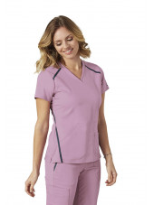 "Blouse médicale femme, couleur rose vue de face, collection ""Grey's Anatomy Impact"", Barco (7188-)"