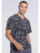 """Col V médical homme imprimé stretch Cherokee, Collection """"Infinity"""" (CK902) gris coté"""