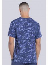 "Col V médical homme imprimé stretch Cherokee, Collection ""Infinity"" (CK902) bleu dos"