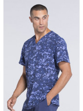 "Col V médical homme imprimé stretch Cherokee, Collection ""Infinity"" (CK902) bleu droite"