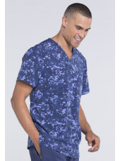 "Col V médical homme imprimé stretch Cherokee, Collection ""Infinity"" (CK902) bleu gauche"