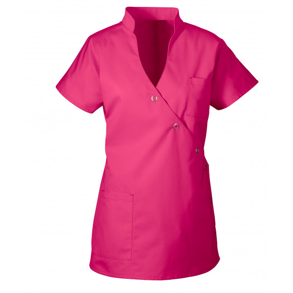 "Blouse médicale femme ""Laura"", Clinic dress fuchia face"