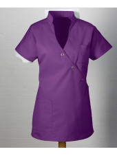 "Blouse médicale femme ""Laura"", Clinic dress aubergine face"