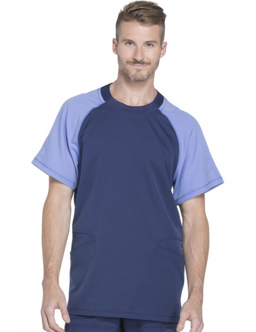"Col rond Médical homme, Collection ""Dynamix"" (DK670) bleu face"
