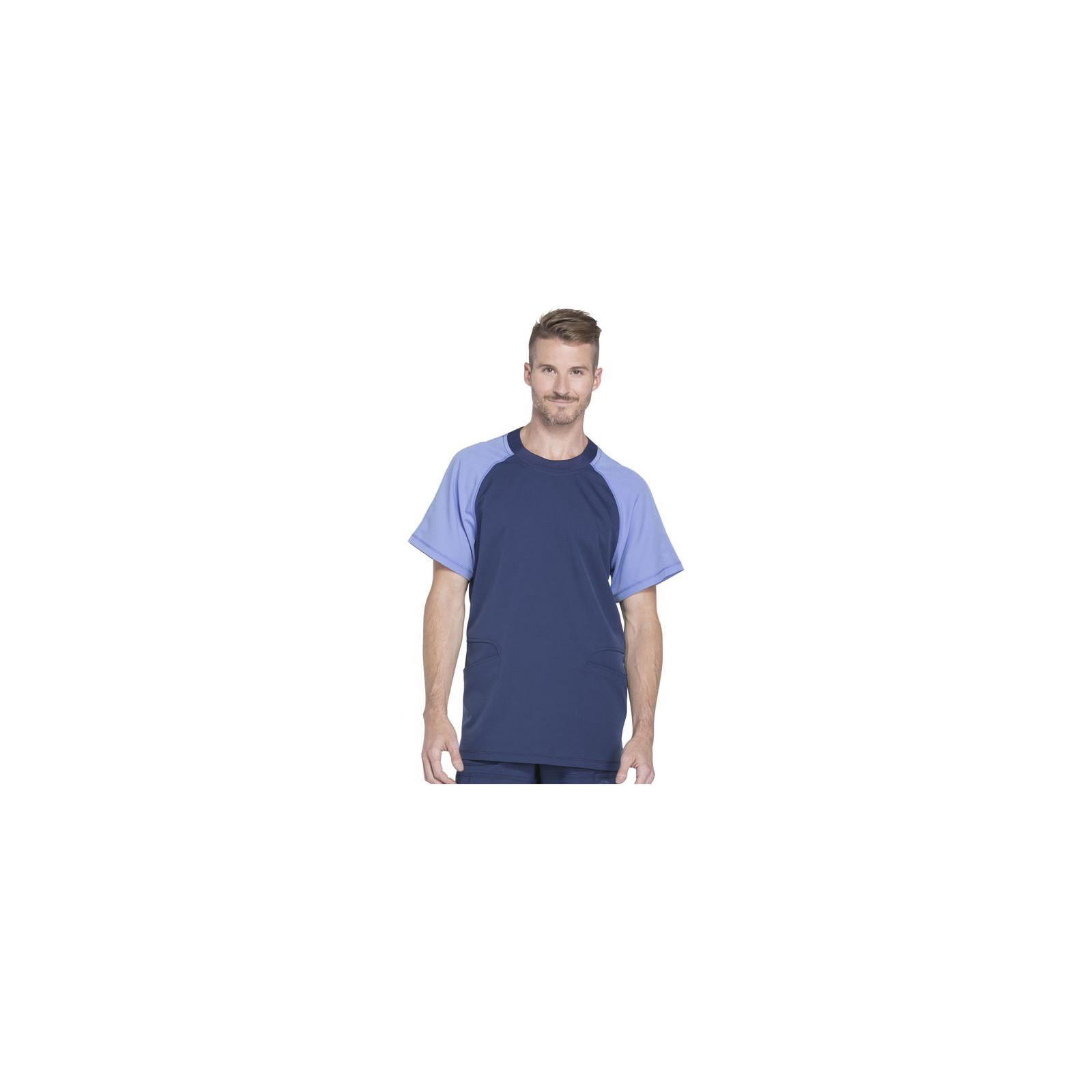 """Col rond Médical homme, Collection """"Dynamix"""" (DK670) bleu face"""
