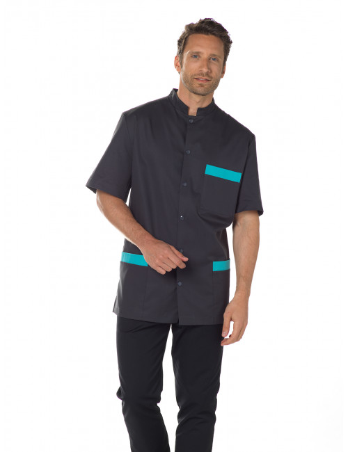 """Stretch medical gown, mao snap collar, CMT collection """"Stretch bicolor"""" (007)"""
