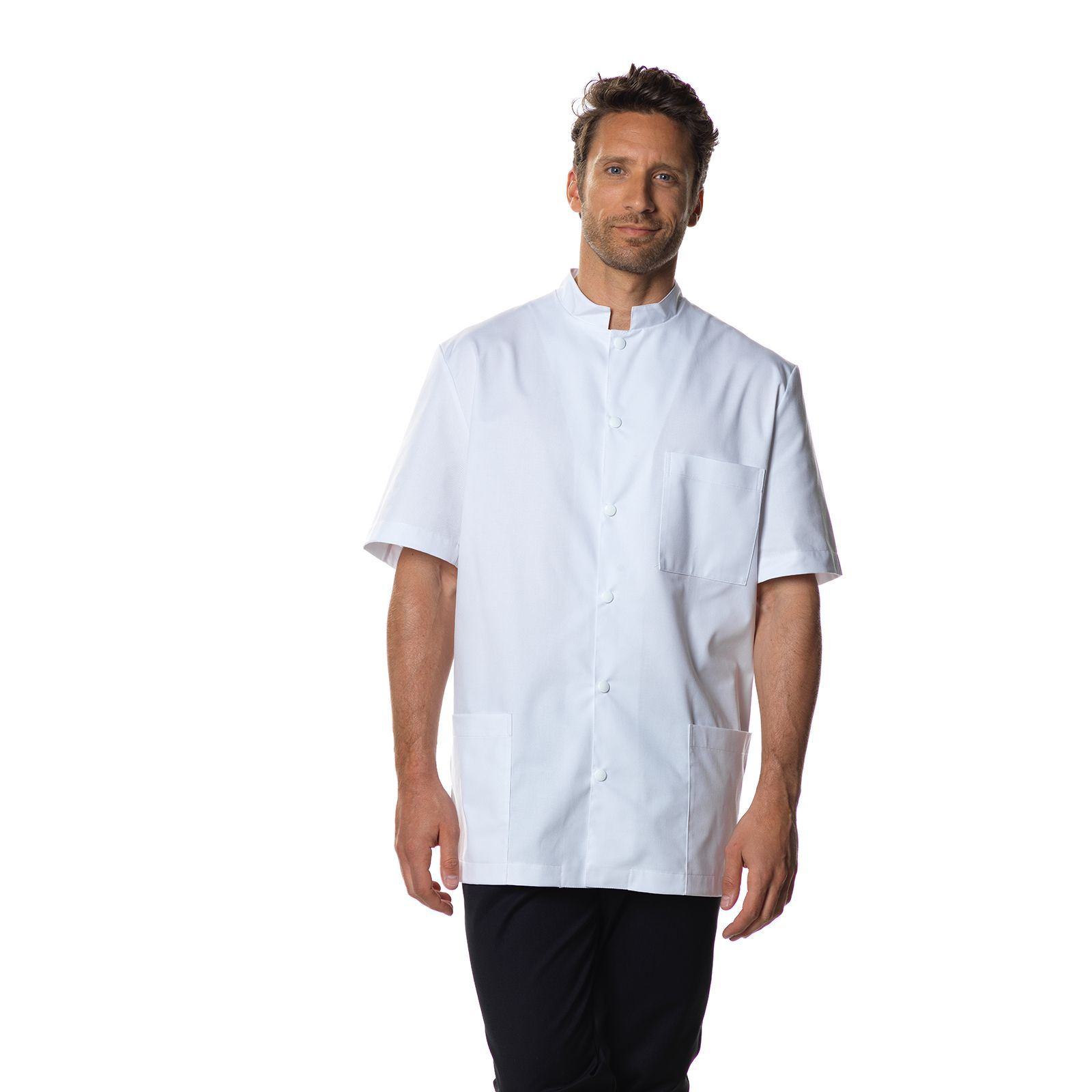 "Blouse médicale, col mao pression, CMT collection ""Stretch uni"" (007)"