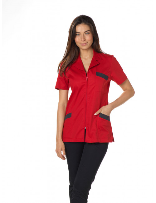 "Blouse médicale, col tailleur, CMT, Collection ""Stretch bicolore"" (2613)"