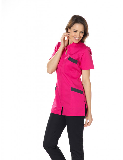 "Blouse médicale, col mao longue, CMT, Collection ""Stretch bicolore"" (2611)"