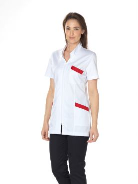 """Stretch medical gown, long Mao collar, CMT, """"Stretch bicolor"""" collection (2611)"""