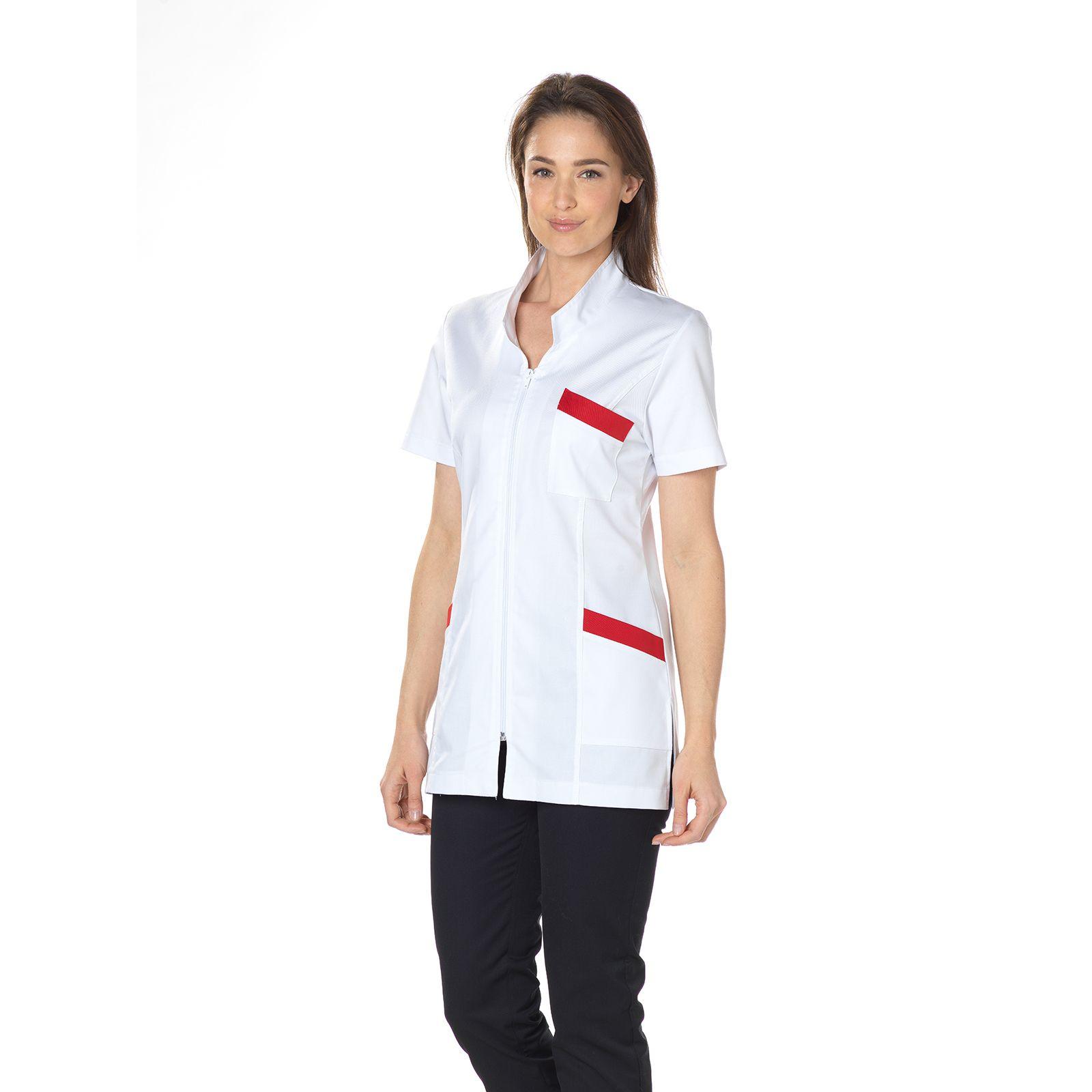 """Blouse médicale, col mao longue, CMT, Collection """"Stretch bicolore"""" (2611)"""