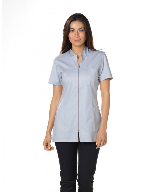 "Blouse médicale Stretch, col mao longue, CMT, Collection ""Stretch uni"" (2611)"