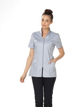 "Blouse médicale Stretch, col mao, courte, CMT, Collection ""Stretch uni"" (2612)"