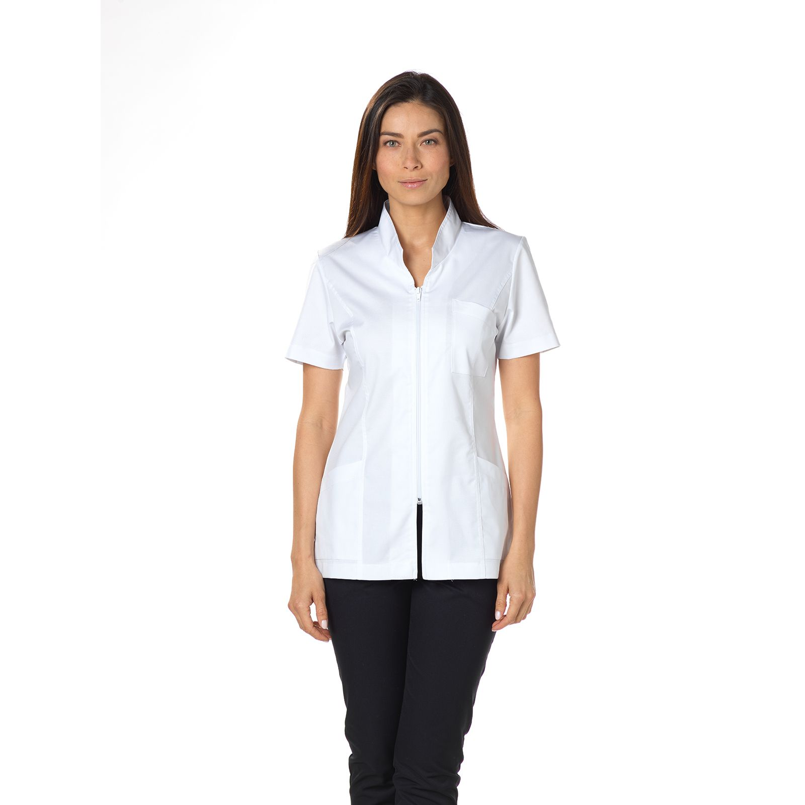 "Blouse médicale, col mao, courte, CMT, Collection ""Stretch uni"" (2612)"