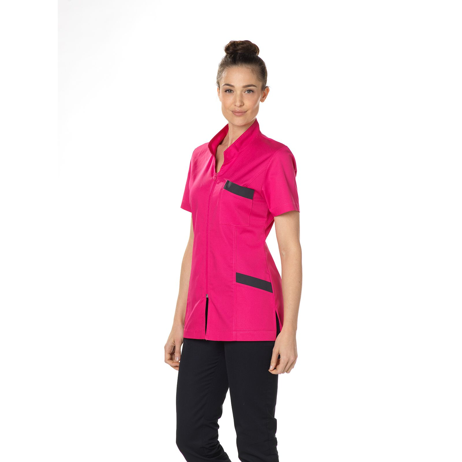 "Blouse médicale, col mao, CMT, Collection ""Stretch bicolore"" (2612)"
