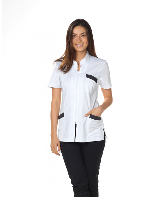 "Blouse médicale Stretch, col mao, CMT, Collection ""Stretch bicolore"" (2612)"
