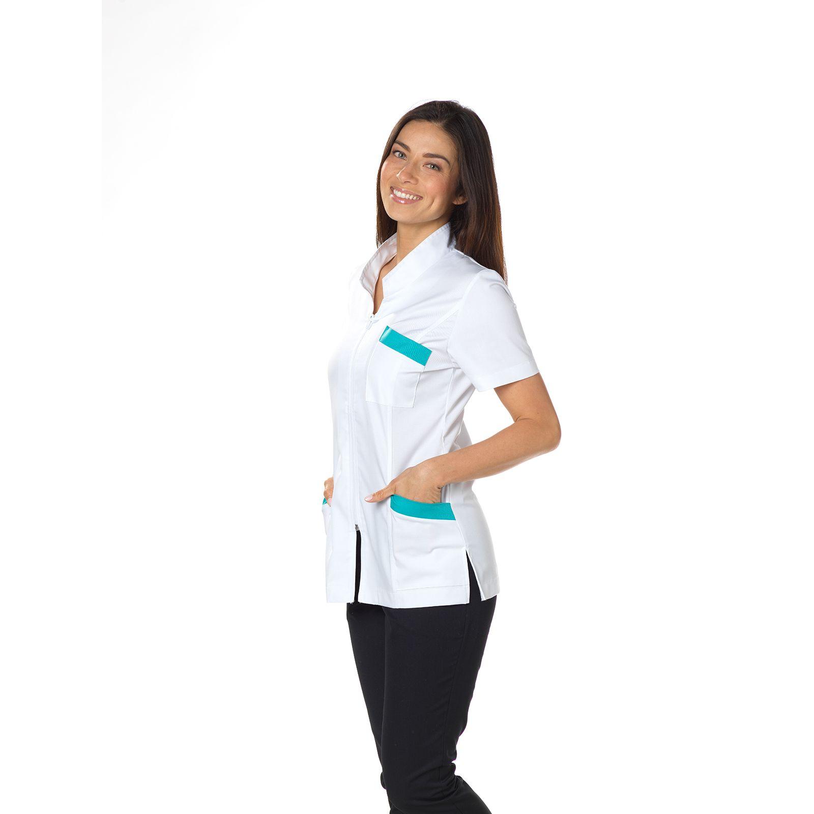 "Blouse médicale, col mao, CMT, Collection ""Stretch bicolore"" (2612)"