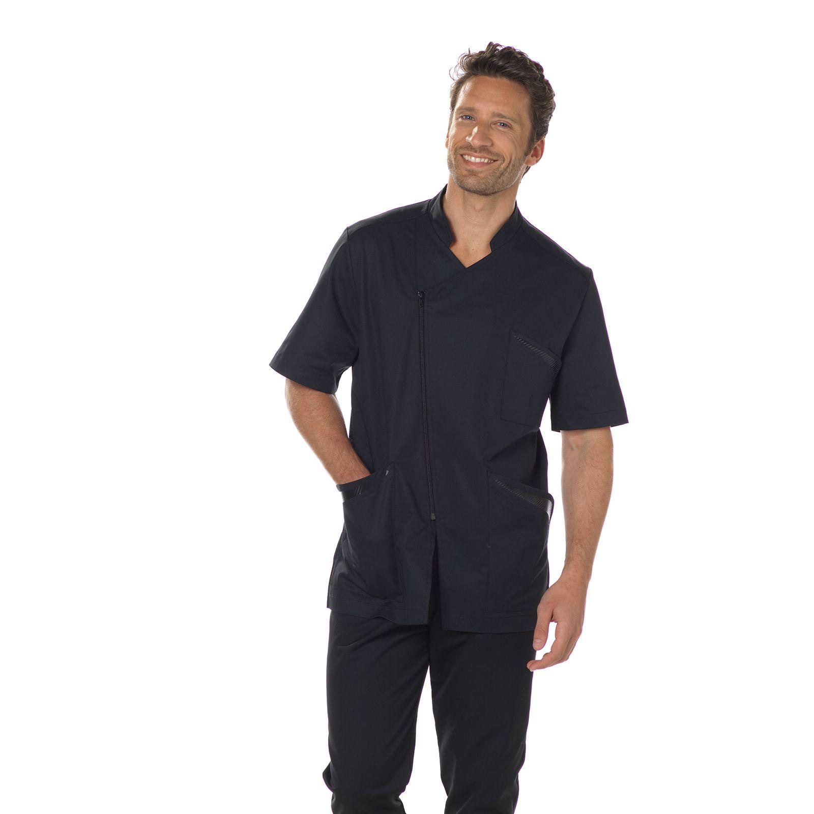 """Blouse médicale homme, fermeture éclair asymétrique, CMT collection """"Stretch uni"""" (2620)"""