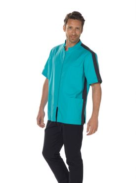 """Stretch medical gown man, zipper, CMT collection """"Stretch bicolor"""" (2622)"""