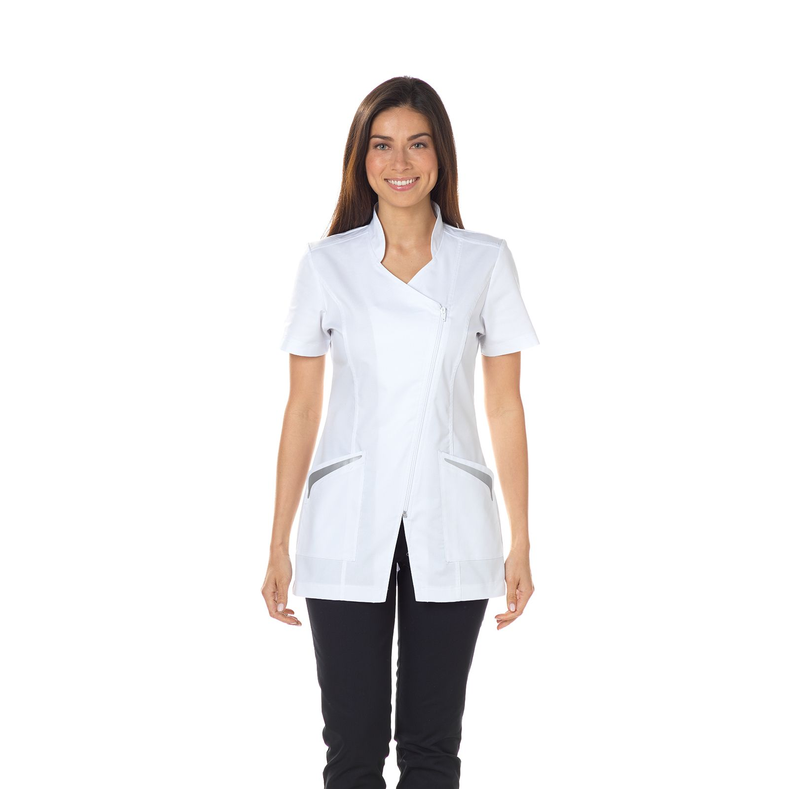 "Blouse médicale, col officier, CMT, Collection ""Stretch uni"" (2619)"