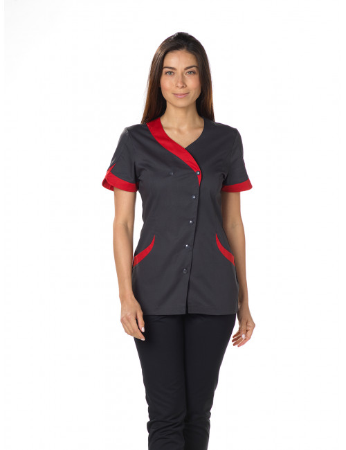 "Blouse médicale Stretch, pression, CMT, Collection ""Stretch bicolore"" (2618)"