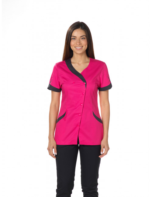 "Blouse médicale, pression, CMT, Collection ""Stretch bicolore"" (2618)"