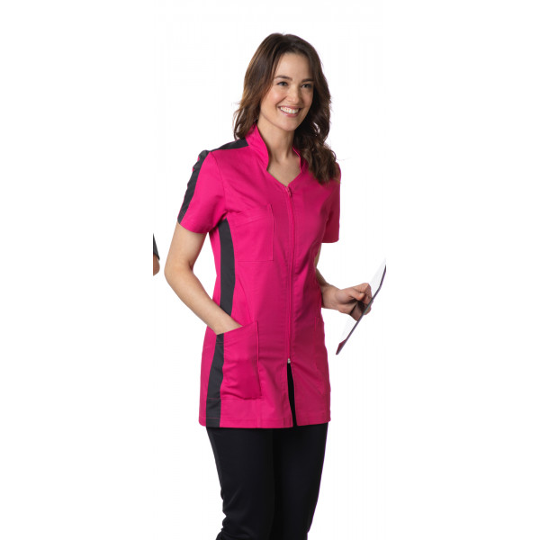 "Blouse médicale, col stylisé, CMT, Collection ""Stretch bicolore"" (2617)"