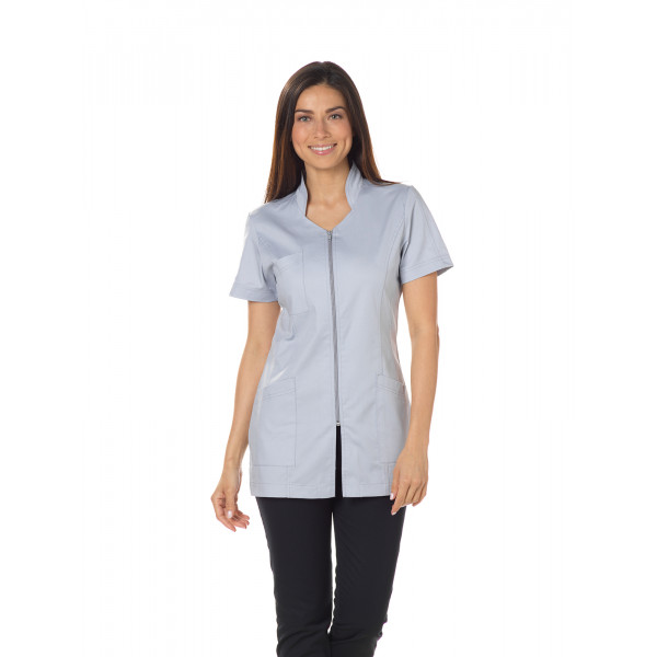 "Blouse médicale, col stylisé, CMT, Collection ""Stretch uni"" (2617)"