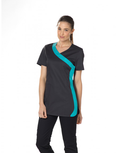"Blouse médicale Stretch, cache coeur, CMT, Collection ""Stretch bicolore"" (2614)"