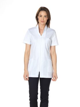 "Blouse médicale, col mao longue, CMT, Collection ""Stretch uni"" (2612)"