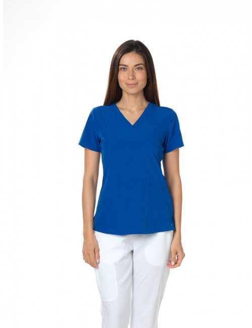 Tunique médicale femme, couleur bleu royal vue de face, Barco One (5105)