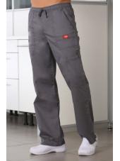 """Pantalon Médical élastique et cordon Homme, Dickies, Collection """"GenFlex"""" (81003) gris moyen face"""