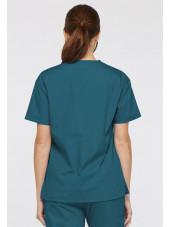 """Blouse médicale Col V Femme, Dickies, 2 poches, Collection """"EDS signature"""" (86706), couleur vert caraïbe, vue modèle dos"""