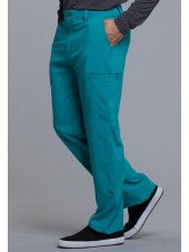 "Pantalon à bouton homme, Cherokee, Collection ""Infinity"" (CK200A) teal blue droite"