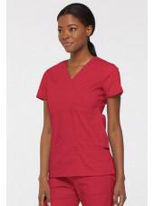 """Blouse médicale Cache Coeur Femme, Dickies, collection """"EDS signature"""" (85820), couleur rouge vue gauche"""