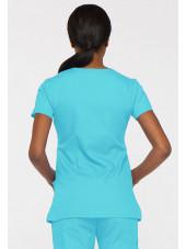 """Blouse médicale Cache Coeur Femme, Dickies, collection """"EDS signature"""" (85820), couleur bleu turquoise vue dos"""