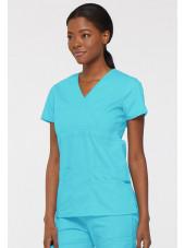 """Blouse médicale Cache Coeur Femme, Dickies, collection """"EDS signature"""" (85820), couleur bleu turquoise vue gauche"""