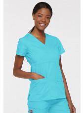 """Blouse médicale Cache Coeur Femme, Dickies, collection """"EDS signature"""" (85820), couleur bleu turquoise vue droit"""